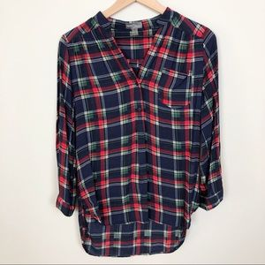 Market & Spruce   Plaid High-Low Popover Blouse